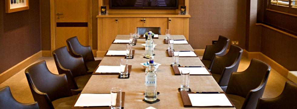meeting room with long contemporary desk